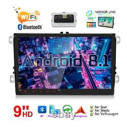 9 2 DIN Autoradio Android 8.1 GPS WiFi HD Stereo Quad-Core Pour VW GOLF TOURAN